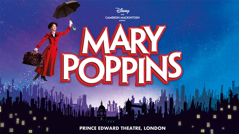 Mary Poppins floating with her umbrella over a london skyline