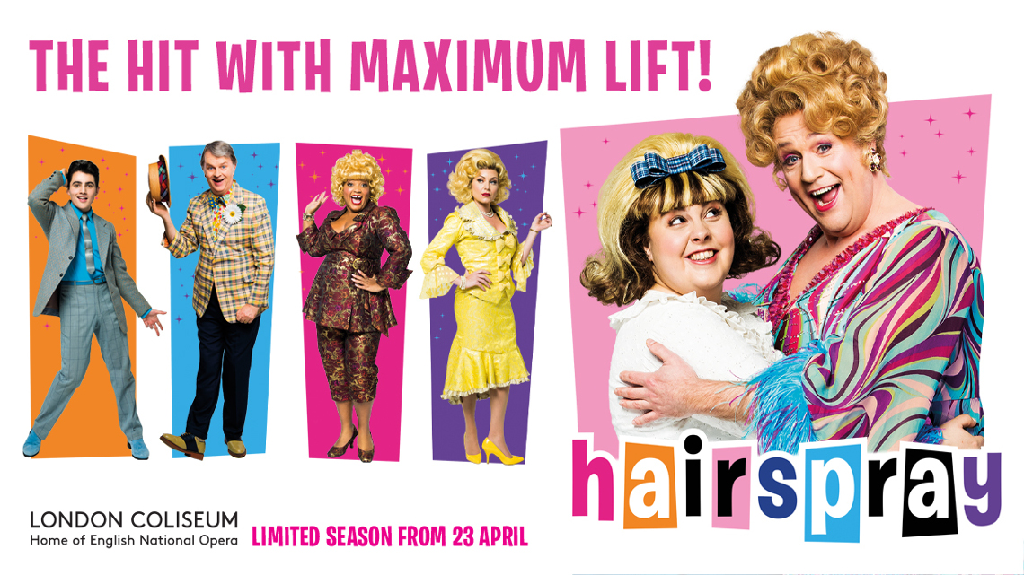 Hairspray title and Michael Ball spraying hairspray in his character Edna Turnblad's hair.