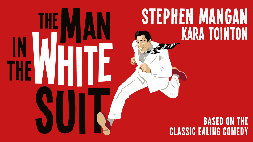 Title banner and cartoon of the lead character running in a white suit